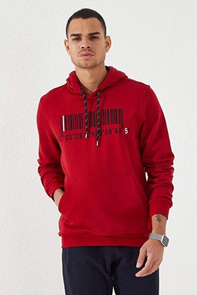 Erkek Kapüşonlu Koordinat Detaylı Kırmızı Sweatshirt