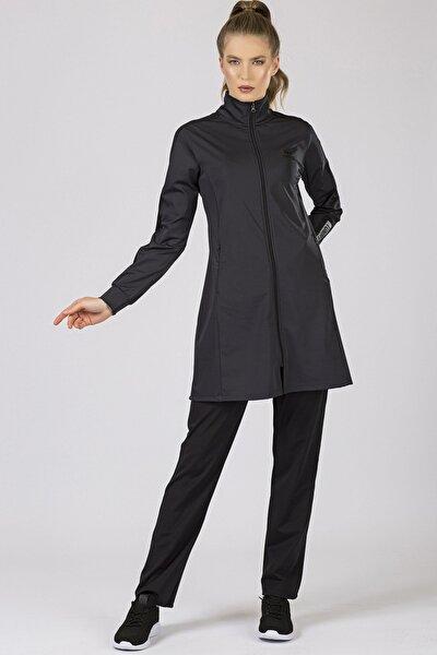 Kadın Antrasit-Siyah Kol Garnili Micro Dalgıç Eşofman Tunik Takım 95204
