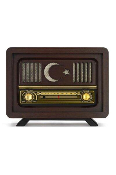Özel Seri Nostaljik Ahşap Radyo Ay Yıldız Türkiye Model