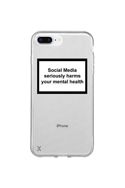 Iphone 8 Plus Baskılı Şeffaf Kılıf Social Media