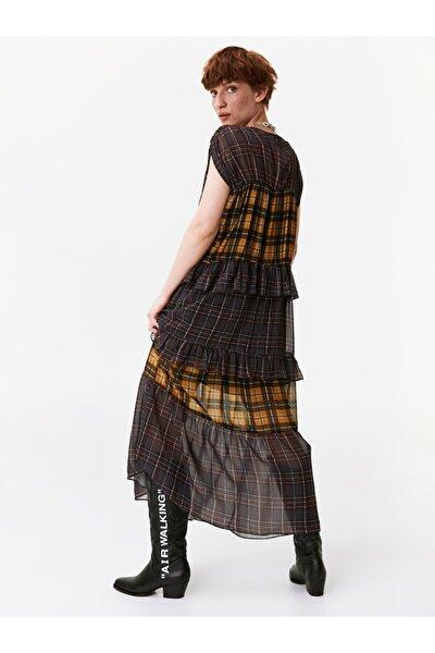 Kadın Siyah Fırfır Şeritli Gömlek Elbise TW6190002139001