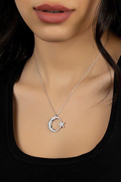 Kadın Gümüş Elmas Montürü Kaz Ayağı Modeli Ay Yıldız Kolye