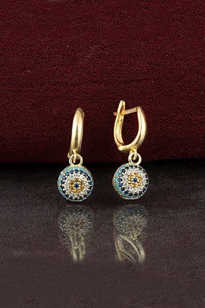 Kadın Altın 925 Ayar Gümüş Nazar Küpe