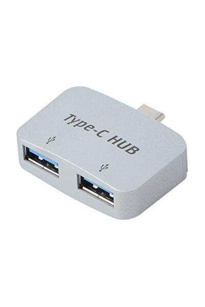 4493 Type C To Usb 3.0 2 Port Hub 3.1 Çevirici Dönüştürücü Çoklayıcı Çoğaltıcı