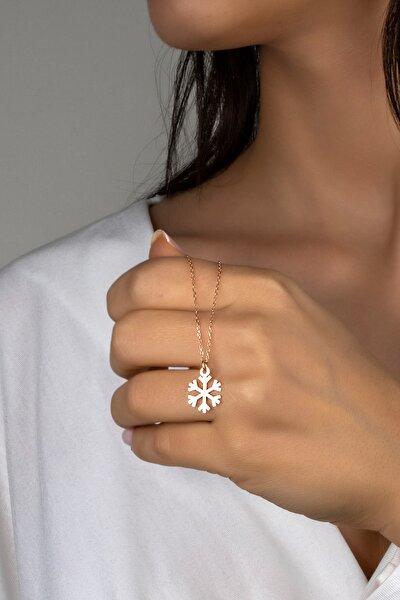 Kadın Pembe Kar Tanesi Gümüş Kolye