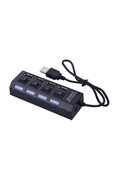 4863 4 Port Usb 2.0 Hub Çoğaltıcı Çoklayıcı Switch Işıklı Anahtarlı