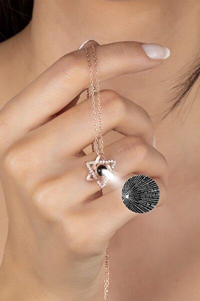 925 Ayar Gümüş 100 Dilde Seni Seviyorum Yıldız Kolye