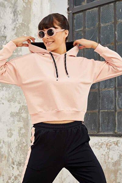 Kadın Pembe Klasik Kapüşonlu Sweatshirt