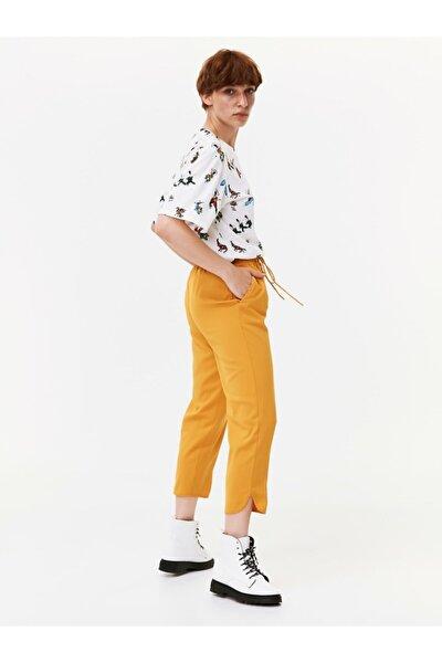 Kadın Hardal Ayarlanabilir Bel Pantolon