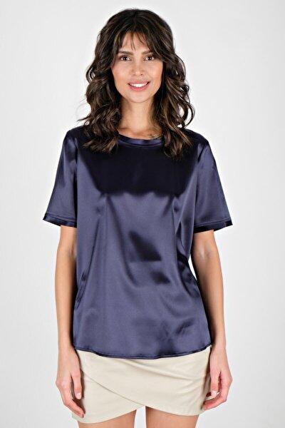 Kadın Lacivert Briseida Yuvarlak Yaka Saten Bluz