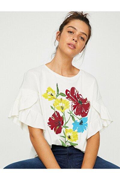Kadın Beyaz Kısa Kollu Bisiklet Yaka T-Shirt 8YAK68265PK