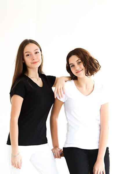 Kadın Siyah Beyaz Basic Kısa Kol V Yaka T-shirt 2li
