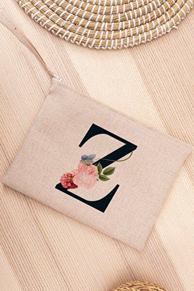 Z Harfi Çiçek Tasarım Keten Bez El Çantası