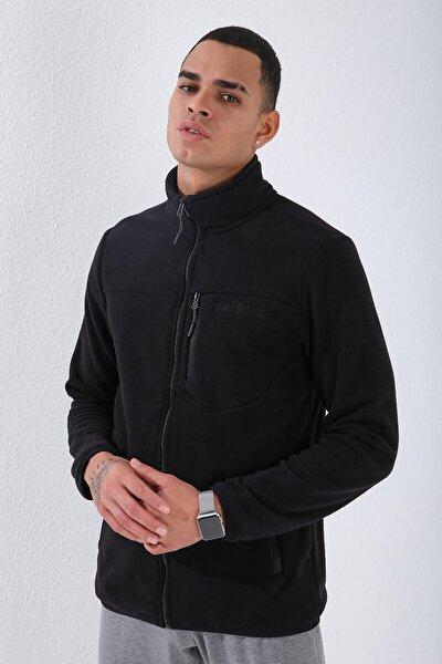 Erkek Dik Yaka Polar Siyah Cep DetaylıSweatshirt