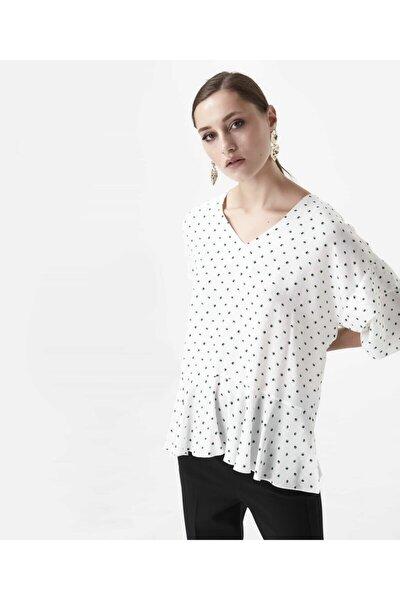 Kadın Kırık Beyaz Eteği Volanlı Bluz IW6190006123096