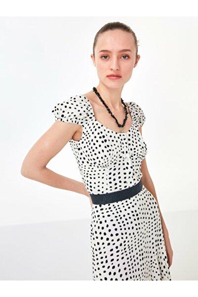 Kadın Kırık Beyaz Puantiye Desen Bluz TS1200006202096