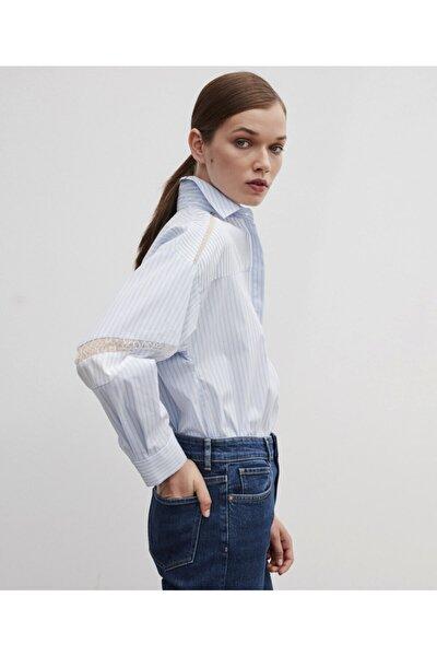 Kadın Mavi Dantel Şeritli Gömlek