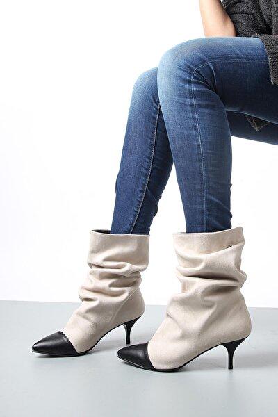 Kadın Ten Süet Topuklu Bot