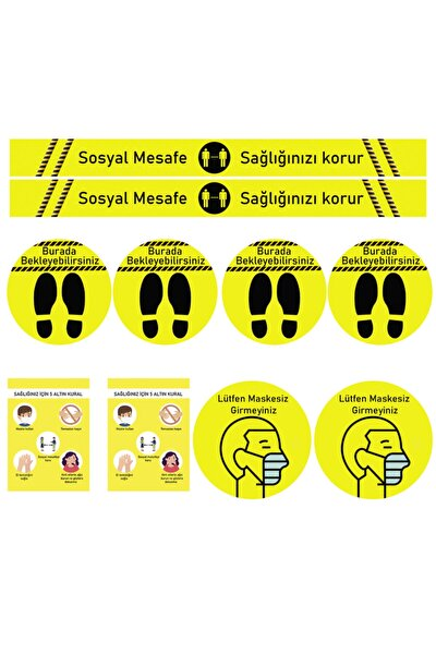 Sosyal Mesafe Uyarı Sticker Seti 10 Parça Sarı