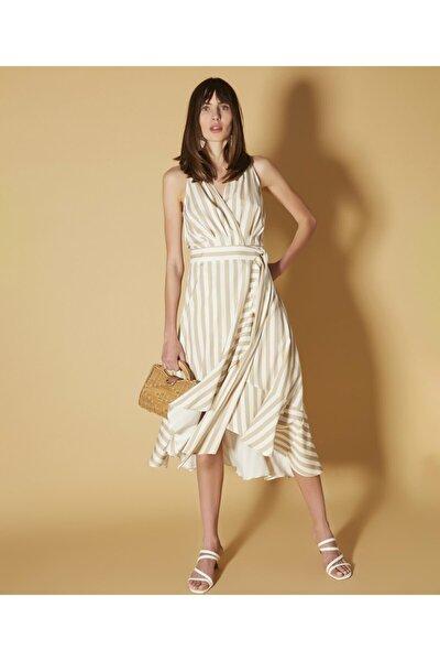 Kadın Haki Anvelop Form Kuşaklı Elbise