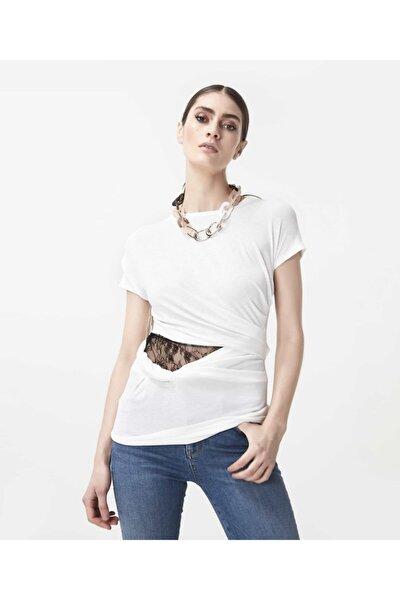 Kadın Beyaz Bel Detaylı Tshirt