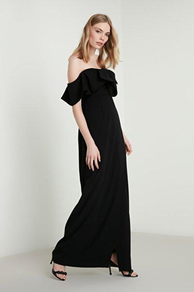 Kadın Dev Fiyonk Detaylı Derin Yırtmaçlı Krep Elbise