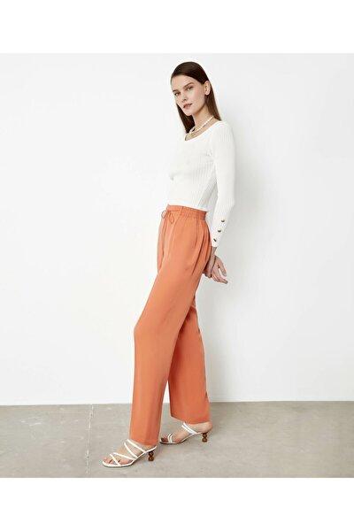 Kadın Turuncu Lastik Bel Pantolon
