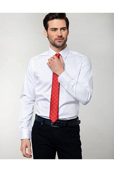 Slim Fit Pamuk Saten, Beyaz Erkek Gömlek