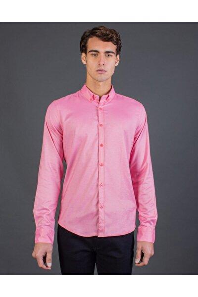 Slim Fit Armürlü Pembe Erkek Gömlek