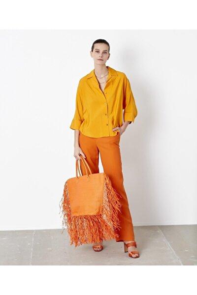 Kadın Sarı Kuşaklı Over Size Gömlek