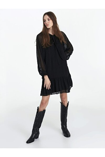 Kadın Siyah Fırfır Şeritli Elbise