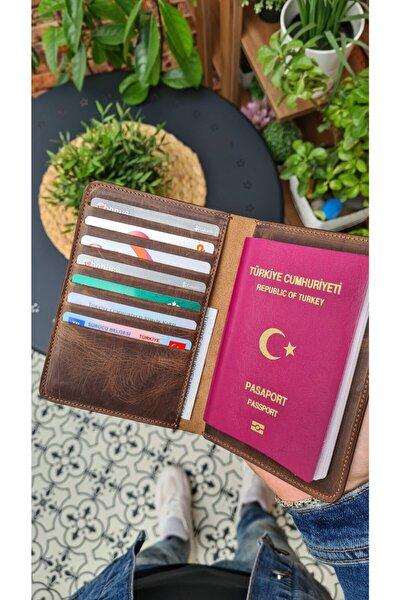 911 Hakiki Deri Pasaport Kılıfı Gerçek Deri Pasaportluk Kahve Matrix Renk