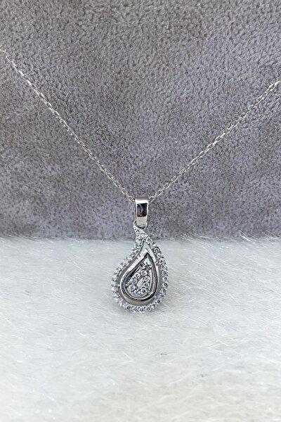 Kadın Gümüş Baget Taşlı Kolye Veran Tmec7117