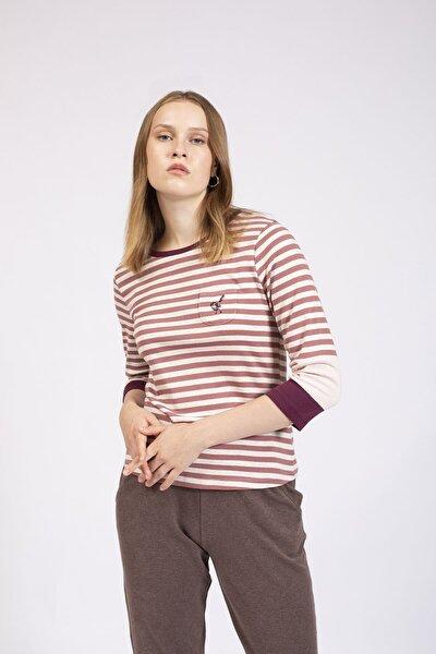 Kadın Pembe Çizgili Aplike Cepli Örme Bluz