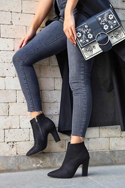 Kadın Siyah Kalın Topuk Süet Ayakkabı