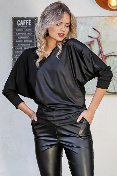 Kadın Siyah Kaplama Deri Görünümlü Bloklu Yarasa Kol Bluz M10010200BL95717