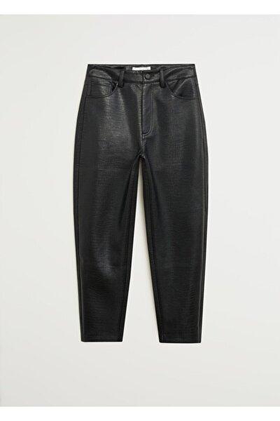 Kadın Siyah Kısa Paçalı Dokuma Pantolon 67094421