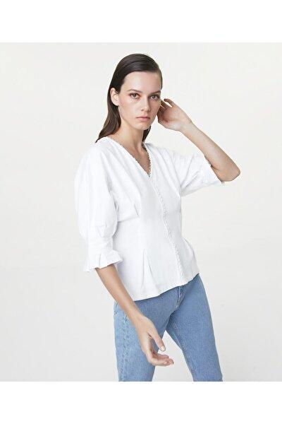 Kadın Beyaz Güpür Mixli T-shirt IS1200070238002