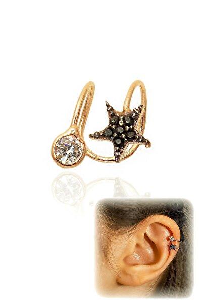 Tekli Siyah Taşlı Yıldız 925 Ayar Gümüş Kıkırdak Küpe - Rose