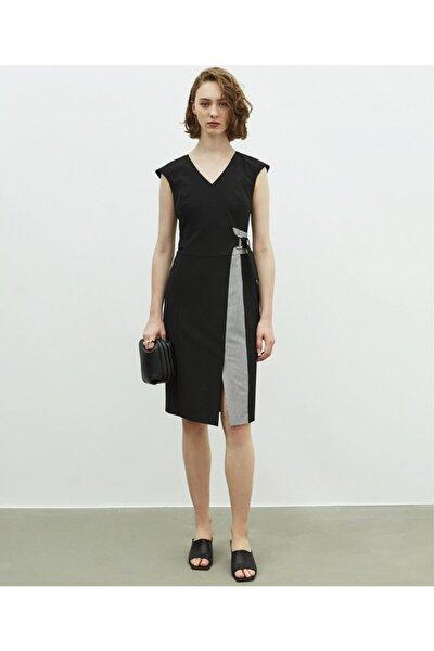 Kadın Siyah Bel Vurgulu Elbise