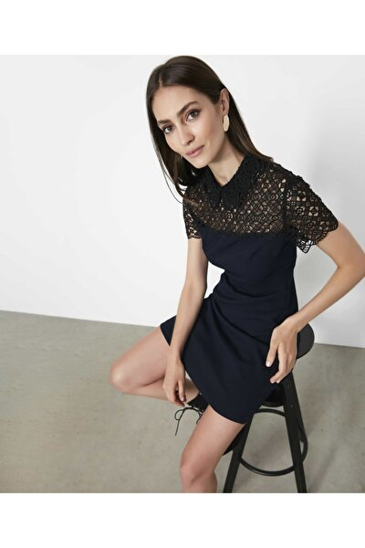 Kadın Lacivert Güpür Mixli Elbise
