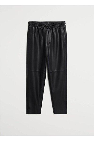 Kadın Siyah Deri Görünümlü Beli Elastik Pantolon