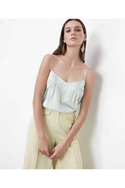 Kadın Su Yeşili İp Askılı Bluz