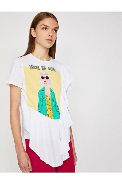 Kadın Beyaz Baskılı Kısa Kollu Bisiklet Yaka T-Shirt 8YAL11476JK