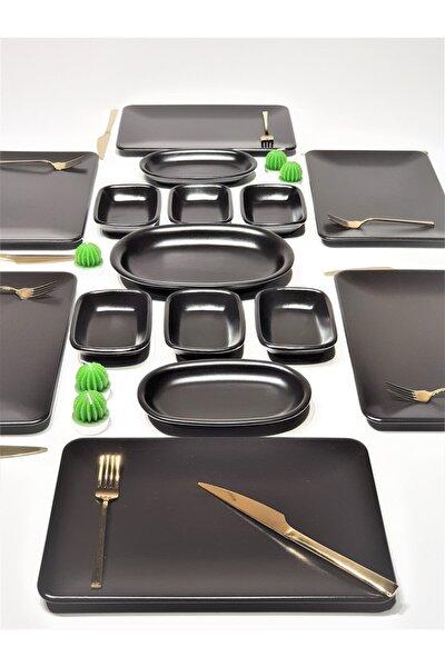 Kare 15 Parça 6 Kişilik Kahvaltı Takımı Mat Siyah