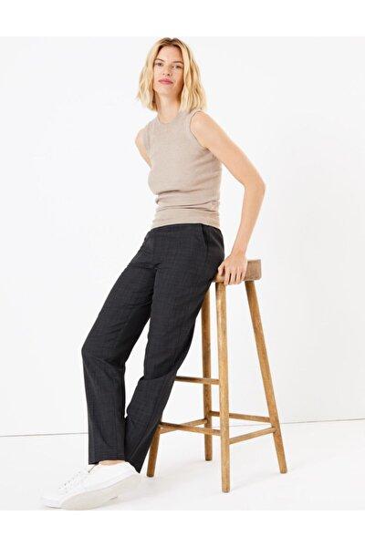 Kadın Gri Toka Detaylı Straight Leg Pantolon
