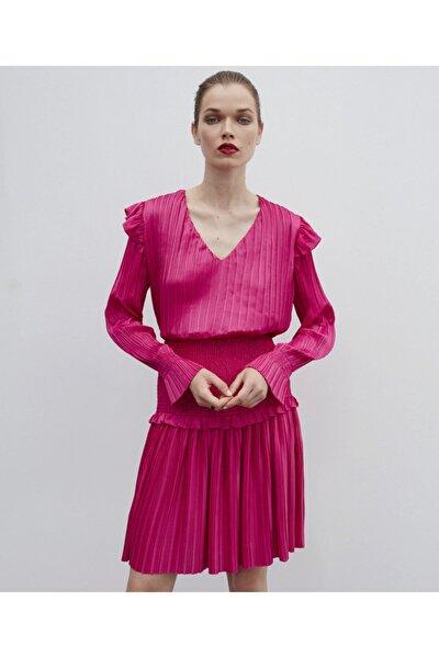 Kadın Pembe Piliseli Bluz
