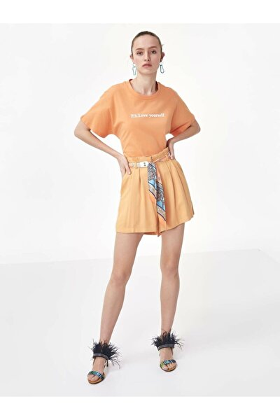 Kadın Turuncu Pilili Kuşaklı Şort TS1200013014127