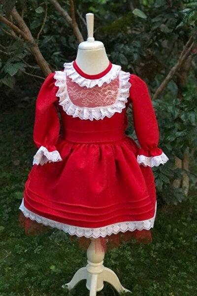 Kırmızı Kız Çocuk Elbisesi /dantel Detaylı