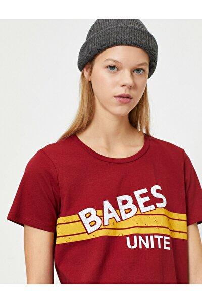 Kadın Bordo Yazılı Baskılı T-shirt
